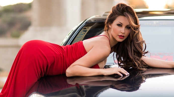 red dress, girls, makeup, auto