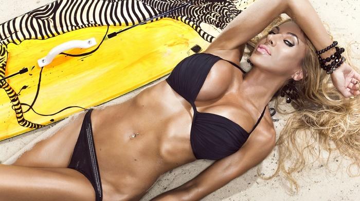 surfing, blonde, lying down, girl, piercing, girls, posing, photo, sexy, sand, board