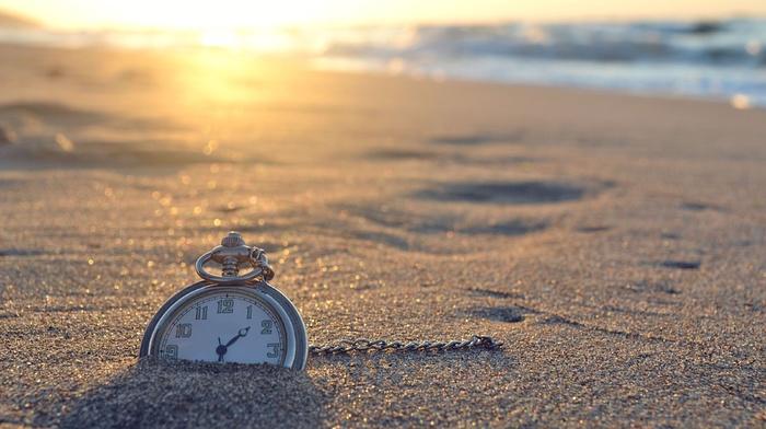 солнце, пляж, песок, океан, закат, макро, фото, креатив, часы