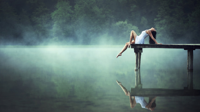 water, stunner, nature, reflection, lake, girl, morning, beautiful, forest, brunette, fishing, pier, mist