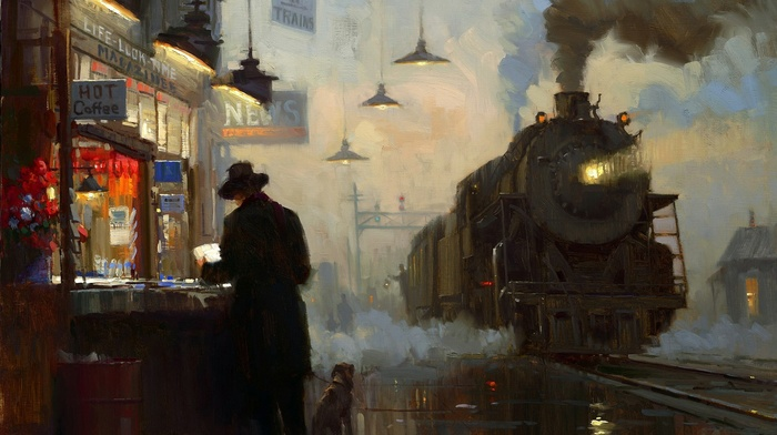 painting, train station, oil painting
