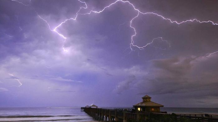 beauty, sky, coast, nature, lodge, lightning, ocean