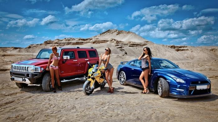 bike, girls, clouds, red hair, brunette, sky, sexy, sportcar, light brown, stunner, supercar