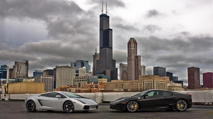 Ferrari, sportcar, cars, skyscrapers, supercar, Lamborghini, ferrari, city, lamborghini
