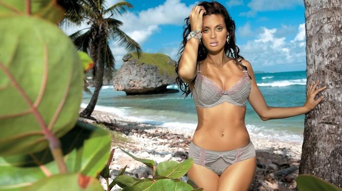 palm trees, sexy, brunette, girls, nature, rocks, posing, beach, tropics, ocean, stones