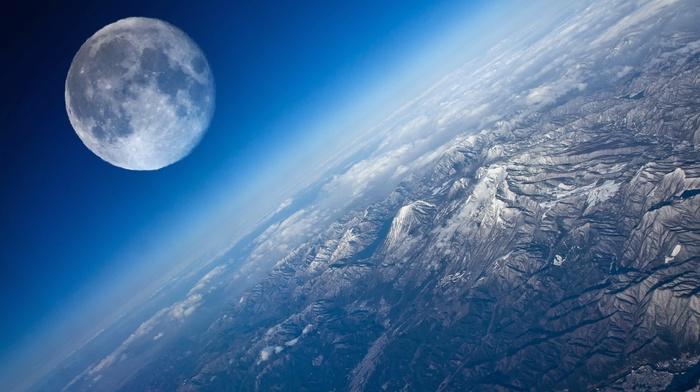 космос, красиво, Земля, пейзаж, горы, рельеф, луна