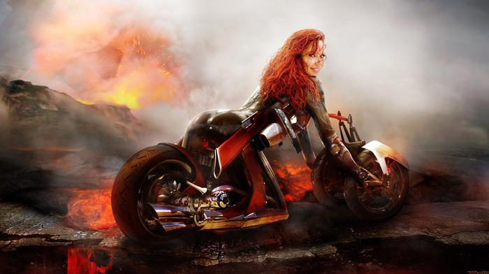 bike, fire, fantasy, flame, girl, smoke