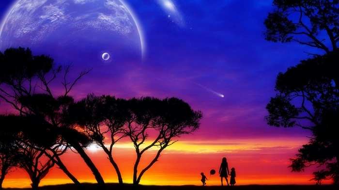 planets, fantasy, people, children, sunset, sky, photoshop, art, trees