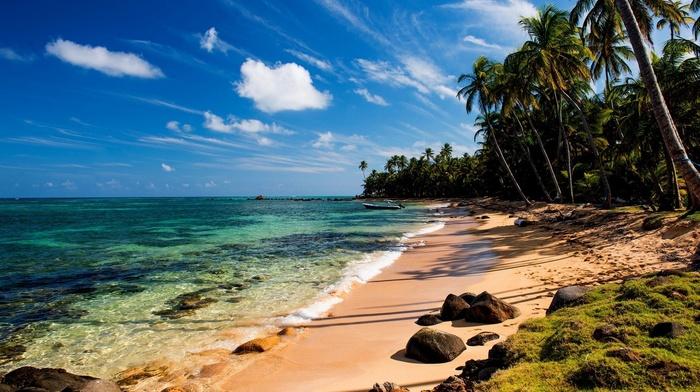 beautiful, ocean, stones, boat, tropics, nature, sand, summer, beach, palm trees