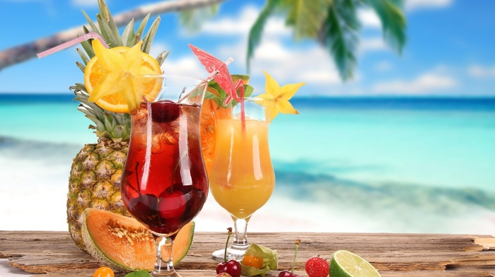 tropics, palm, delicious, summer, fruits, background