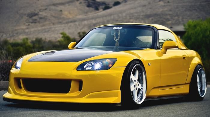 Honda, tuning, sportcar, cars, color, yellow