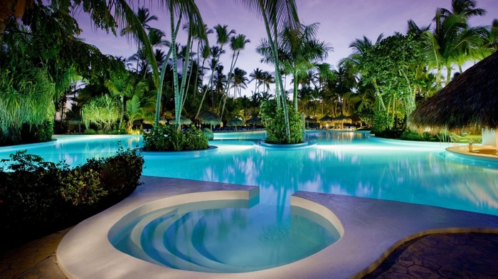 rest, palm trees, beautiful, summer, resort, swimming pool, evening