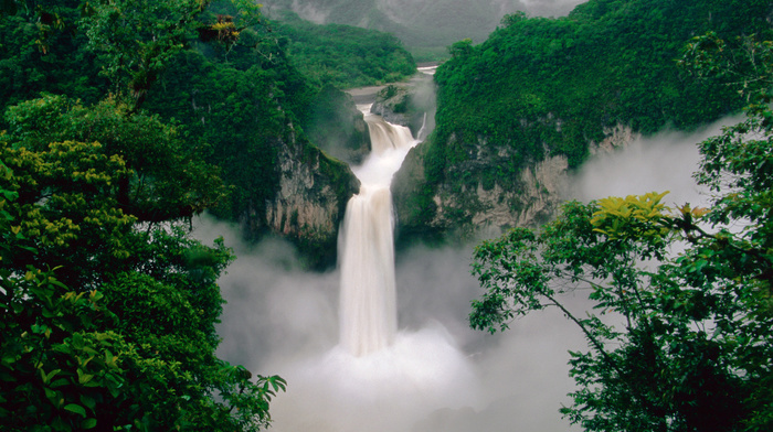 stunner, nature, mist, forest, morning, waterfall, mountain, water