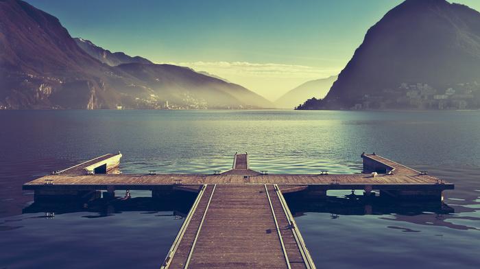 pier, sky, nature, morning, lake, mountain, stunner, city