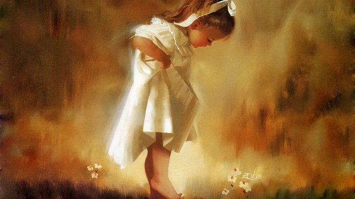 nature, girlie, positive, children, flowers, painting, child