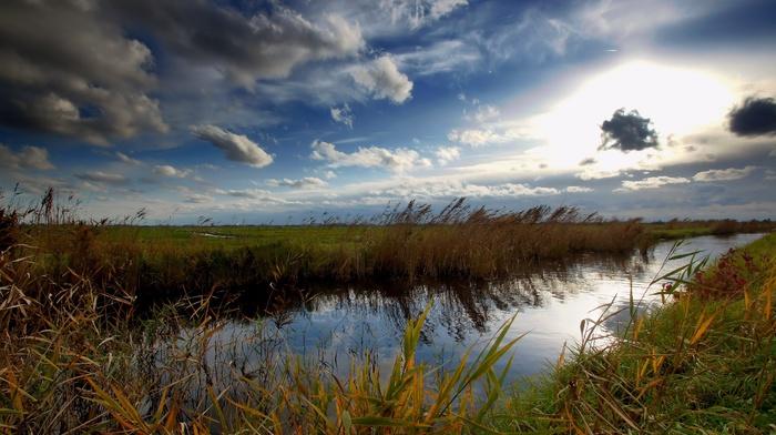 река, небо, вода, долина, природа