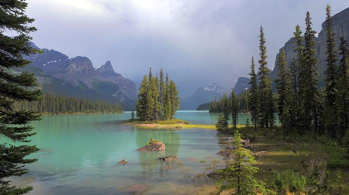 пасмурно, озеро, лес, горы, природа, небо