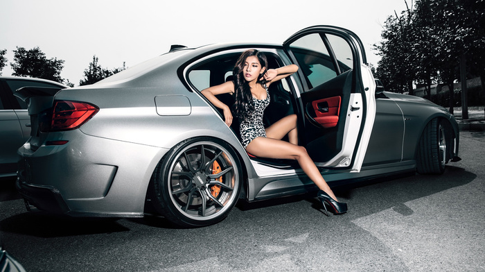 автомобили, брюнетка, БМВ, ножки, авто, паркинг, позирует, Азия, девушка