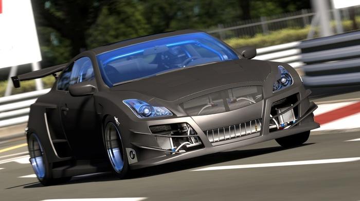 cars, track, blue, gray, automobile, neon