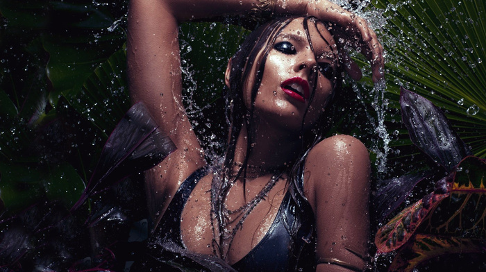 brunette, lips, water, makeup, splash, body, girls