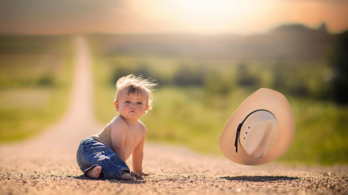 road, child, nature, positive, hat, light, children, boy