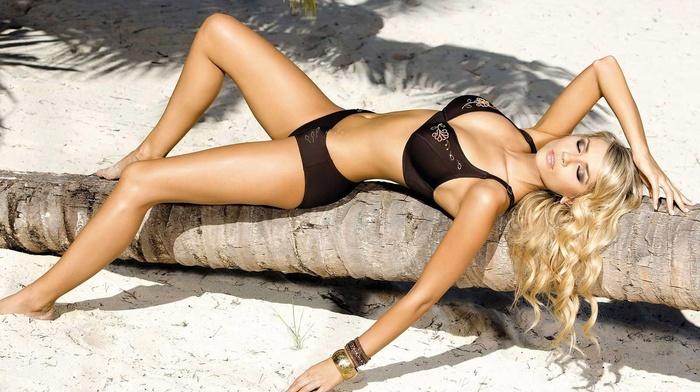 sexy, beach, blonde, posing, girl, girls, lying down, palm, sand
