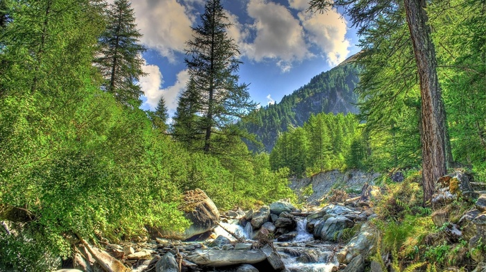 river, Alps, sky, nature, creek, clouds, mountain, forest