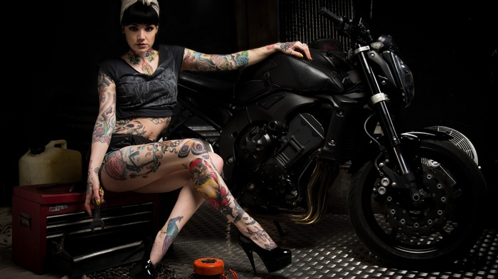 girl, tattoo, pose, girls, sight, motorcycle