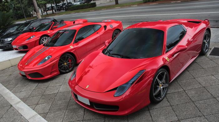 ferrari, red, parking, sportcar, BMW, supercar, Ferrari, cars
