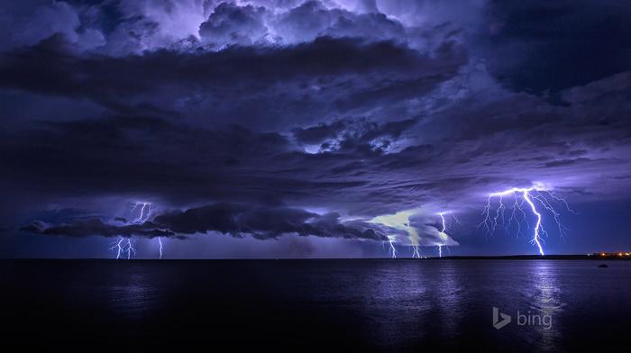 stunner, sea, clouds, ocean, lightning, beautiful, nature, photo, night, coast, sky