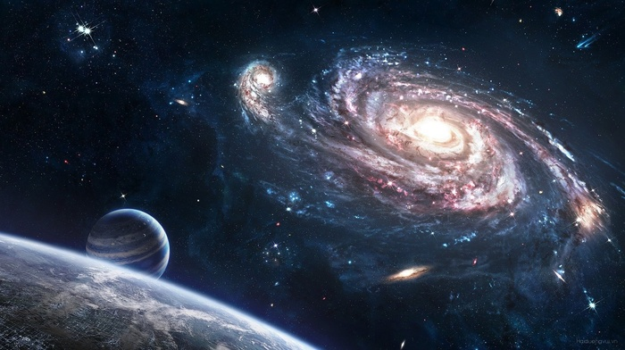 stars, spiral galaxy, galaxy, planet, space art