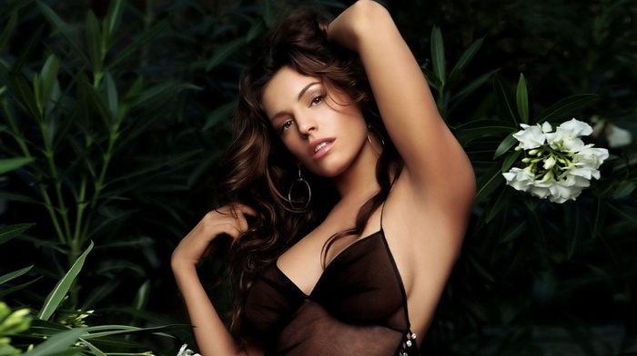 greenery, flowers, background, movies, actress, brunette, sexy, boobs