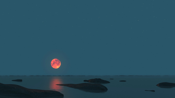3D, stones, sea, sky, moon, night, horizon