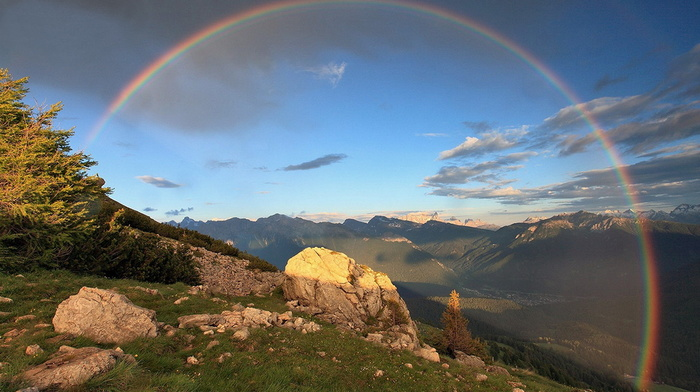 clouds, nature, Italy, rainbow, mountain, grass, stones, sky, beauty