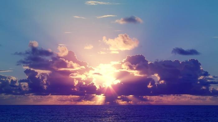 sunset, clouds, evening, Sun, sea, beautiful, nature, sky