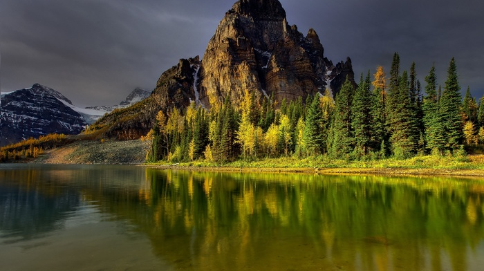 mountain, lake, cloudy, sky, nature, reflection, water, forest