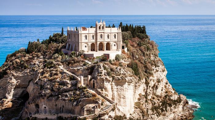 rocks, people, sea, house, beach, resort, rest, Italy