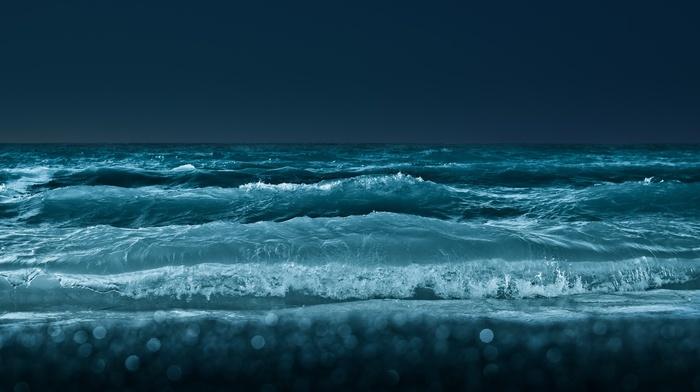 waves, beach, bokeh, sea