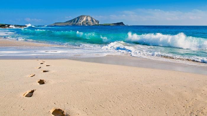 sea, waves, footprints, beach