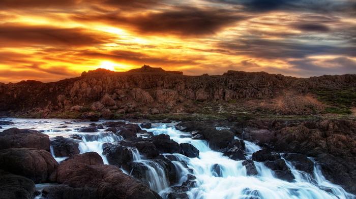 clouds, sky, sunset, nature, beauty, mountain, creek, stones