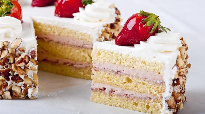 десерт, Торт, еда, сладость, вкусно, клубника