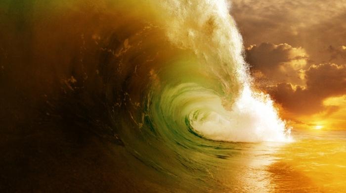 nature, ocean, wave, clouds, Sun, sunset, sky, stunner, super, photo, beautiful, power