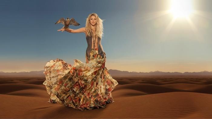 music, Shakira, decoration, wind, blonde, long hair, desert, sand, Sun, skirt, bird, sky