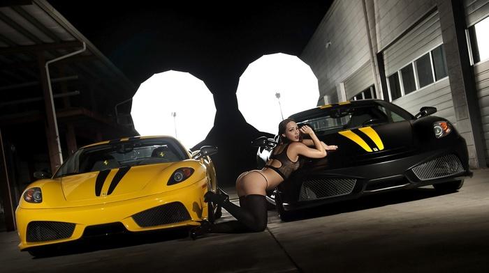 girl, cars, ferrari, garage, light
