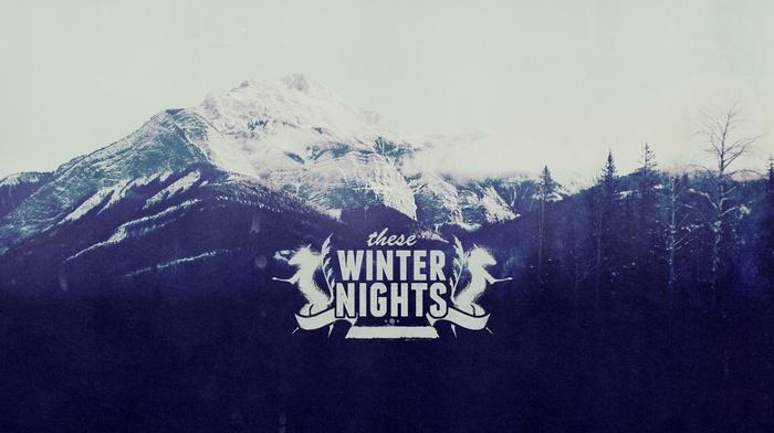 зима, типография, горы