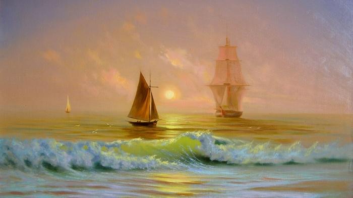 ship, waves, painting, sea, boat