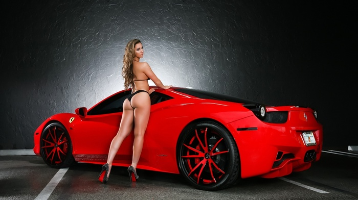 red, girl, ferrari, legs, sportcar, Ferrari, girls, supercar, posing, parking, ass, blonde, sexy