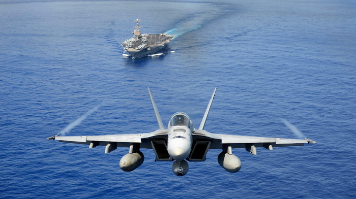ocean, gun, ship, fly, jet fighter, speed, airplane