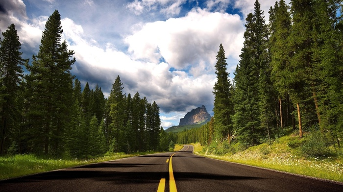 clouds, stunner, mountain, forest, road, cloudy, beautiful, sky