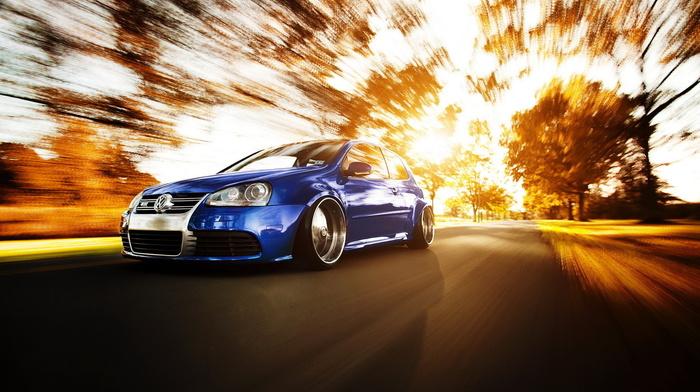 autumn, speed, sportcar, road, Volkswagen, cars